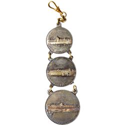1904 St. Louis World's Fair - Three-piece Liberal Arts, Education & Electricity Buildings Watch Fob.