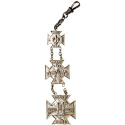 1904 St. Louis World's Fair - Three-piece Palace of Mines Watch Fob. H-19-320, Nickel plated brass,