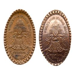 Two 1904 St. Louis World's Fair - Festival Hall elongated Indian Head Cents. SLWF-9a and 9b.