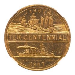 1907 Jamestown Tercentennial Expo - Battleship Virginia. HK-349, Brass. NGC MS63 Prooflike
