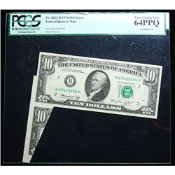 $10.00 1974 Federal Reserve ERROR NOTE. PCGS graded Very Choice New 64 PPQ Cutting Error