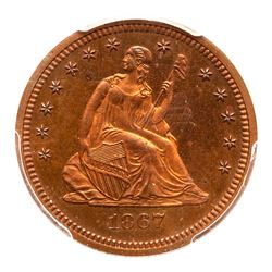 1867 Pattern Quarter Dollar. Copper, reeded edge. PCGS PF65
