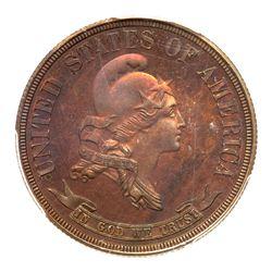 1870 Pattern Half Dollar. Copper, reeded edge. PCGS PF66