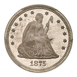 1875 Pattern Quarter Dollar. Aluminum, reeded edge. PCGS PF63