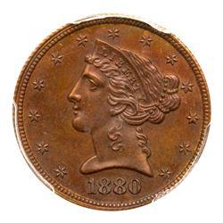 1880 Pattern Half Eagle. Copper, reeded edge. PCGS PF65