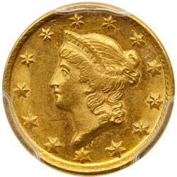 1850-D $1 Gold Liberty. PCGS MS62