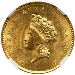 1855-O $1 Gold Indian. NGC MS64