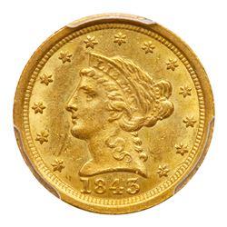 1843-O $2.50 Liberty. Large date, plain 4. PCGS MS62
