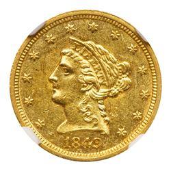 1849-C $2.50 Liberty. NGC MS60