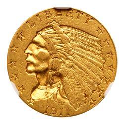 1911-D $2.50 Indian. NGC AU55