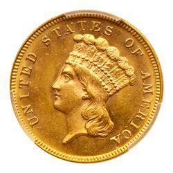 1868 $3 Gold. PCGS MS64
