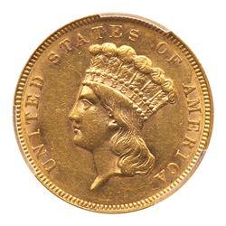 1889 $3 Gold. PCGS AU58