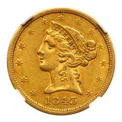 1843-O $5 Liberty. Large letters. NGC AU53