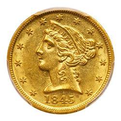 1845-D $5 Liberty. PCGS MS60