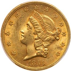 1854 $20 Liberty. Small date. PCGS MS62