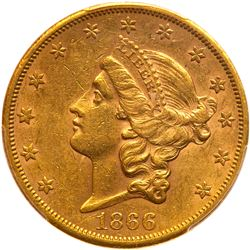 1866-S $20 Liberty. No motto. PCGS AU58