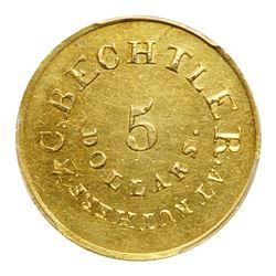 Christopher Bechtler, 5 DOLLARS CAROLINA, 134 gr. 21 carats, with star. PCGS MS60