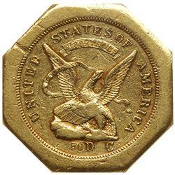 """1851 U.S. Assay Office $50 """"slug"""", 887 THOUS. Lettered edge, 50 on reverse. PCGS AU55"""