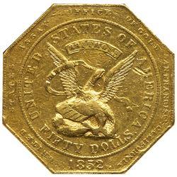 1852 U.S. Assay Office $50 Gold, 887 THOUS. NGC MS60