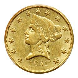 1861 Clark, Gruber & Co. (Denver, Colorado) $10 Gold. PCGS AU58