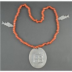 HUDSON BAY PENDENT AND TRADE BEAD NECKLACE