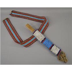 PLAINS INDIAN BEADED KNIFE SHEATH AND BELT