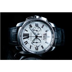Cartier Steel/Leather Watch