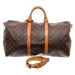 Louis Vuitton Monogram Toile Canvas Bandouliere Keepall 50 Duffel Bag