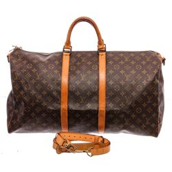 Louis Vuitton Monogram Canvas Leather Keepall 55 Bandouliere Duffle