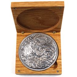 Monarch Precious Metals 10oz Fearsome Dragon .999 Fine Silver Art Round in Wooden Display Box (TAX E
