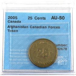 Very Scarce! 2005 Canada 25-cent Afghanistan Canadian Forces Currency Token CCCS Certified AU-50.