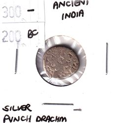 300-200 BC Ancient India Silver Punch Drachm.