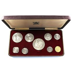 1966 Bahama Islands 9-coin Silver Proof Set in Royal Mint Display Case (coins are lightly toned). Co