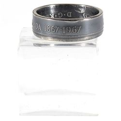 1867-1967 Canada Silver 50-cent Coin Custom Jewellery Ring Size 10 - Made from a real 50-cent coin!
