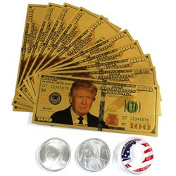 """President Trump Novelty Lot - 2x 1oz .999 Fine Silver Coins (""""Trump 2020"""" and """"The Whitehouse - 45th"""