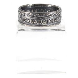 1945 Canada Silver 50-cent Coin Custom Jewellery Ring Size 10 - Made from a real 50-cent coin!