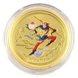 SCARCE 2016 Australia 1/4oz Lunar Monkey King Coloured .9999 Fine Gold Coin in Capsule. Hard to find