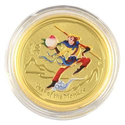 SCARCE 2016 Australia 1/4oz Lunar Monkey King Coloured .9999 Fine Gold Coin in Capsule. Hard to find