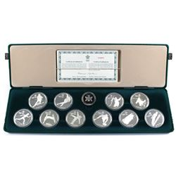 1988 Canada $20 Calgary Olympics 10-coin Sterling Silver Set in Original Green Felt Display Case wit