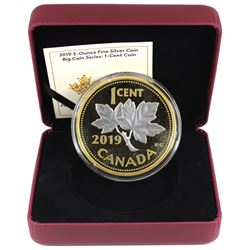 2019 Canada 1-cent Big Coin 5oz Reverse Gold Plated .9999 Fine Silver Coin (missing outer sleeve) TA