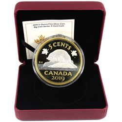2019 Canada 5-cent Big Coin 5oz Reverse Gold Plated .9999 Fine Silver Coin (missing outer sleeve) TA
