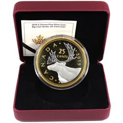 2019 Canada 25-cent Big Coin 5oz Reverse Gold Plated .9999 Fine Silver Coin (missing outer sleeve) T