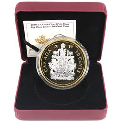 2019 Canada 50-cent Big Coin 5oz Reverse Gold Plated .9999 Fine Silver Coin (missing outer sleeve) T