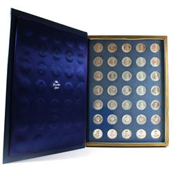 *The Franklin Mint Presidential Sterling Silver Medallions. 35pcs. Comes in the original Vintage cas