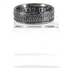 1954 Canada Silver 50-cent Coin Custom Jewellery Ring Size 10 - Made from a real 50-cent coin!