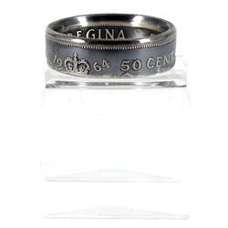 1964 Canada Silver 50-cent Coin Custom Jewellery Ring Size 10 - Made from a real 50-cent coin!
