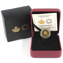 2014 Canada $25 Pope John Paul II Fine Gold Coin (outer sleeve lightly worn) TAX Exempt.