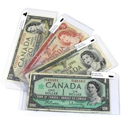 Lot of Canada Banknotes with REPEATER Serial Numbers. You will receive 1967 $1 - N/O1411411, 1973 $1