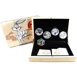 2015 Canada $20 Looney Tunes Classic Scenes 4-coin Fine Silver Set with Wristwatch (outer sleeve has