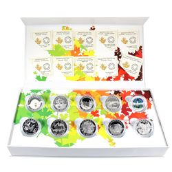 2014 O Canada $10 Complete 10-Coin Fine Silver Set in Deluxe Box (TAX Exempt).